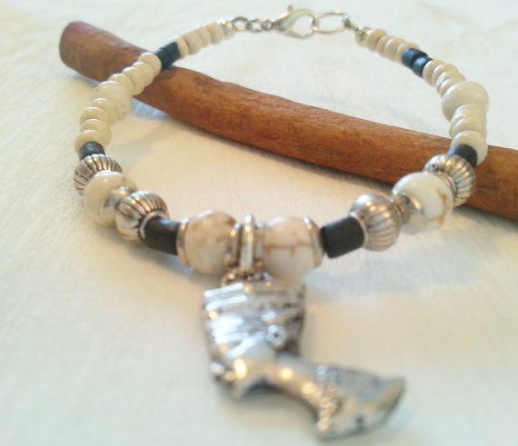"""Energy bracelet, """"Look for the future"""" energy bracelet, magnesite, coconut shell, beads, wood, Nefertiti"""