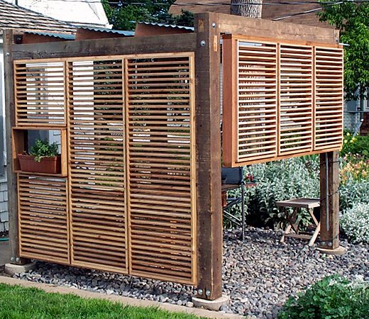 Outdoor privacy screens outdoor dining structure mead for Backyard screening ideas