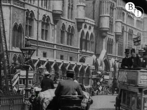 Taken over 100 years ago, this footage shows a number of scenes shot around central London, taking in locations such as Hyde Park Corner, Parliament Square and Charing Cross Station. We see crowds of people disembarking from a pleasure steamer at Victoria Embankment, pedestrians dodging horse-drawn carriages in Pall Mall and heavy traffic trotting down the Strand.