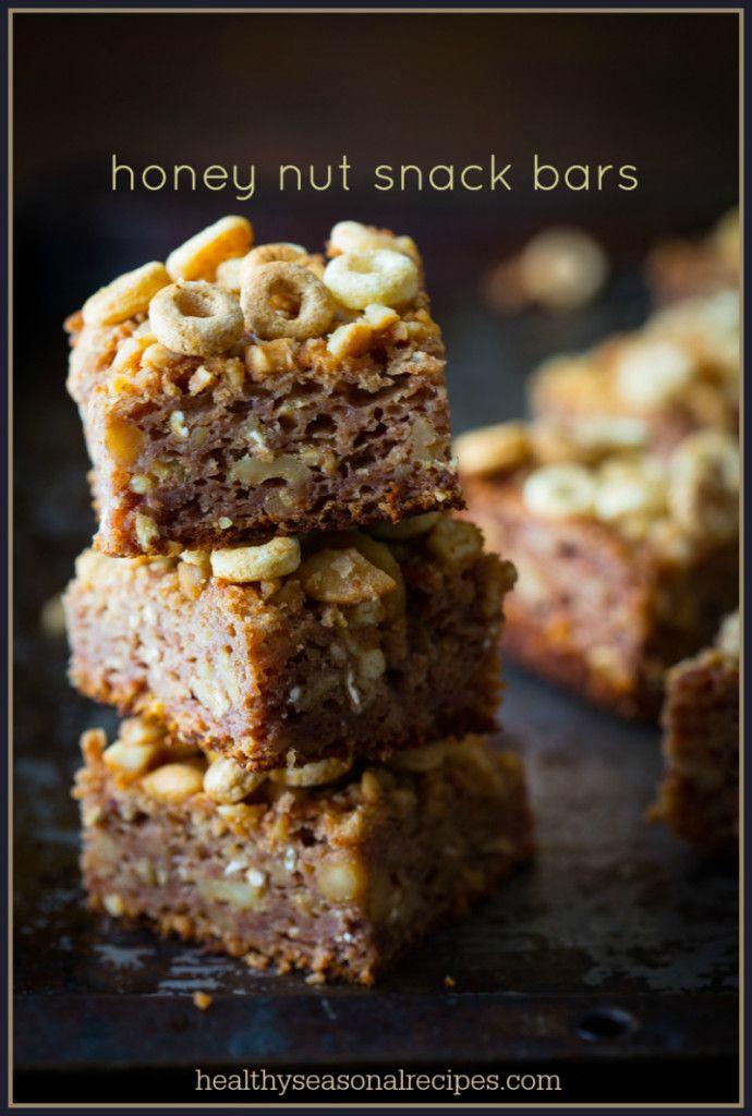 Honey Nut Snack Bars on healthyseasonalrecipes.com #backtoschool # ...