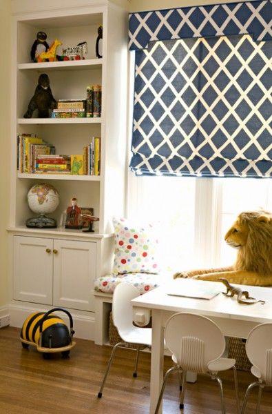 playroomRomans Shades, Built In, Windows Seats, Kids Room, Curtains Fabrics, Playrooms, Roman Shades, Boys Room, Windows Treatments