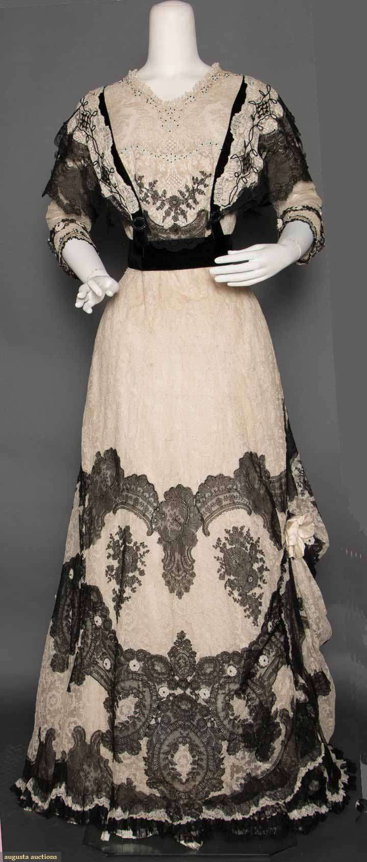 White & black lace dinner gown, circa 1902.  Augusta  Auctions, April 8, 2015, New York NY (Lot 94)