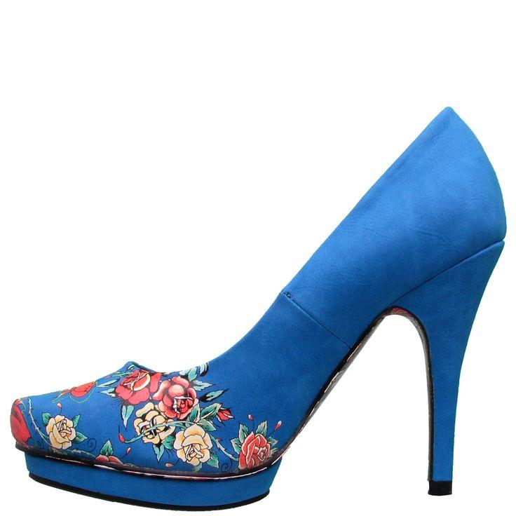 Ed Hardy Dirty Gold Pump Shoe for Women – Blue