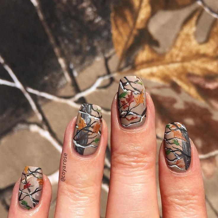 Realtree Mossy Oak Hunting Camo Fall Autumn Nails Nail Art Camo Nails Hunting Nails Camo Nail Designs