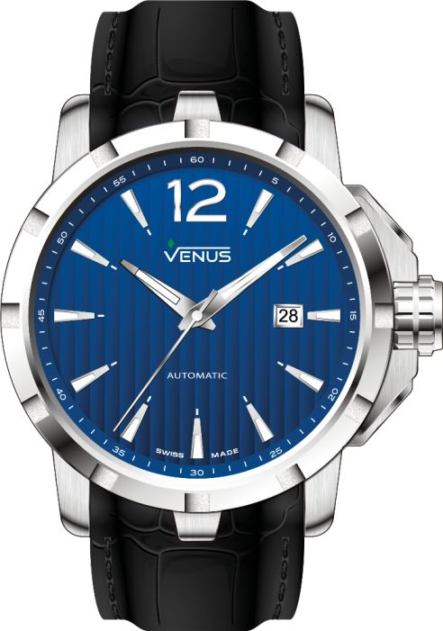 Automatic Time-Date 44mm by GENESIS Collecction 2016. Design in keeping with the times, high technology… The GENESIS collection perpetuates the inherent excellence of the VENUS timepieces. The energy provided by the prevalence of electric blue achieves the elegant style of this well-known timepiece.