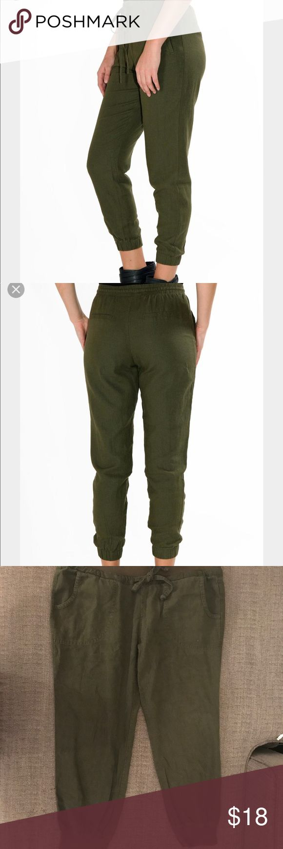 plain army green joggers outfit girls