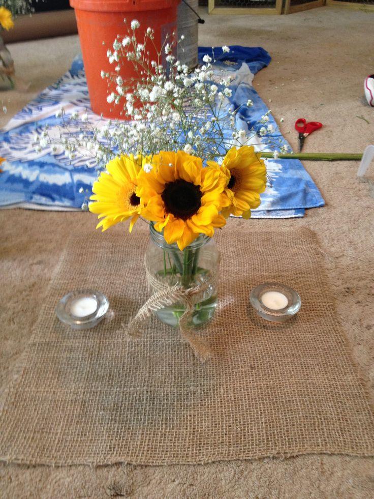 Sunflower And Daisy Centerpiece