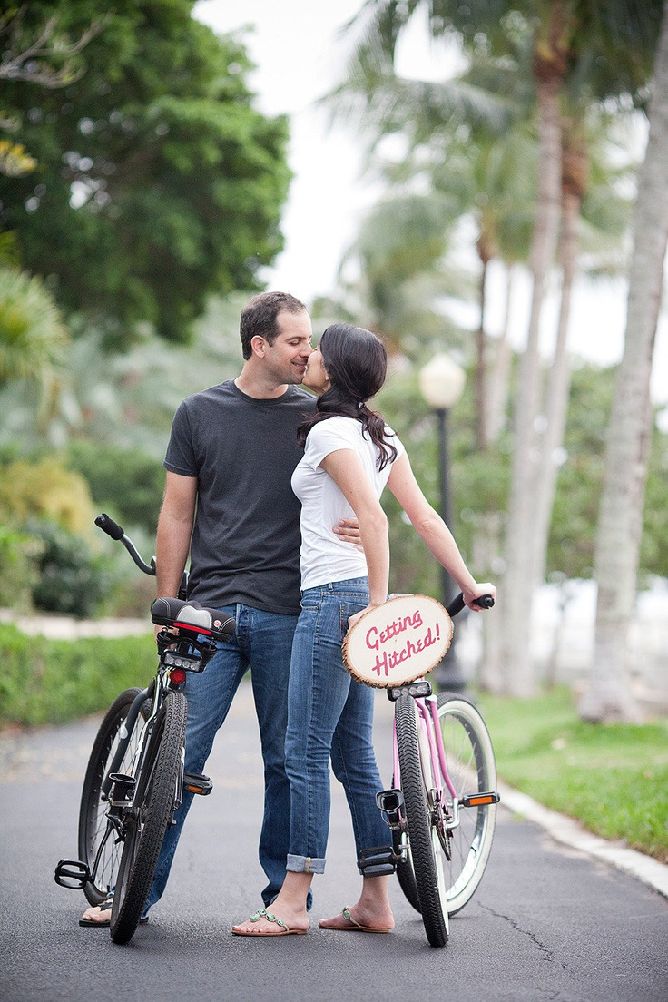 """Getting hitched"" bike sign for engagement shoot. Photography by Captured by Jen."