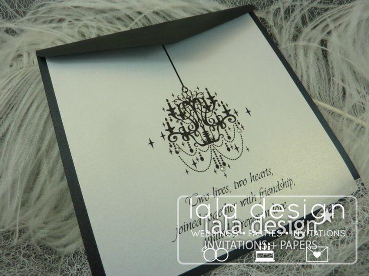 Black chandelier graphic wedding invitation