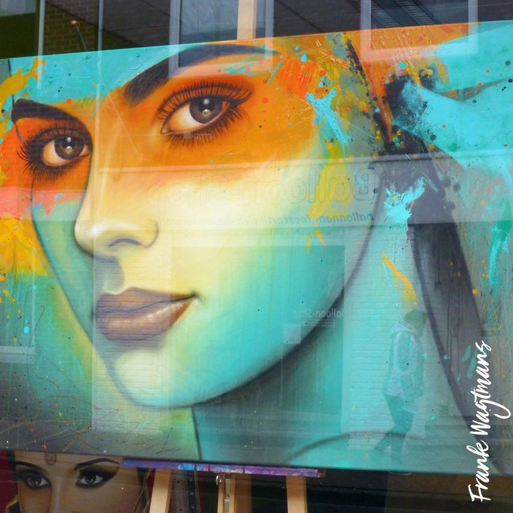 """Een bijzonder schilderij van Kunstenaar Frank Wagtmans. De abstracte achtergrond smelt samen met de realistische vormen van het portret. Een uniek modern kunstwerk dat een ware eyecatcher is in elke woonruimte. Ontdek meer grote kleurrijke schilderijen op de site van de kunstenaar. Laat u inspireren! Schilderij: """"A Beautiful Mind"""" - 100x140cm - Acryl op canvas - Kleuren: oranje, geel, groen, turquoise, rood en zwart."""