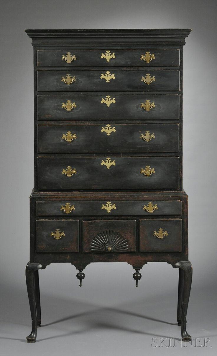Queen Anne Black-painted Carved Maple High Chest of Drawers | Sale Number 2585B, Lot Number 33 | Skinner Auctioneers