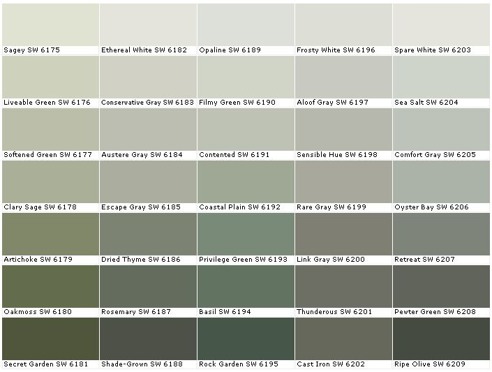 Sherwin Williams SW6175	Sagey  SW6176	Livable Green  SW6177	Softened Green  SW6178	Clary Sage  SW6179	Artichoke  SW6180	Oakmoss  SW6181	Secret Garden  SW6182	Ethereal White  SW6183	Conservative Gray  SW6184	Austere Gray  SW6185	Escape Gray  SW6186	Dried Thyme  SW6187	Rosemary  SW6188 	Shade-Grown  SW6189	Opaline  SW6190	Filmy Green  SW6191 	Contented  SW6192	Coastal Plain