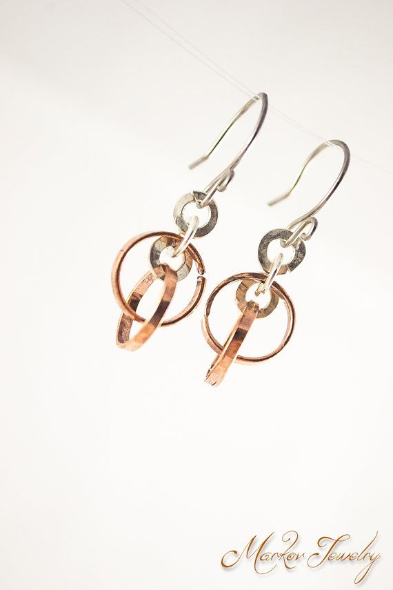 Orbits Earrings Handmade Copper & Fine Silver by MarkovJewelry, $15.00