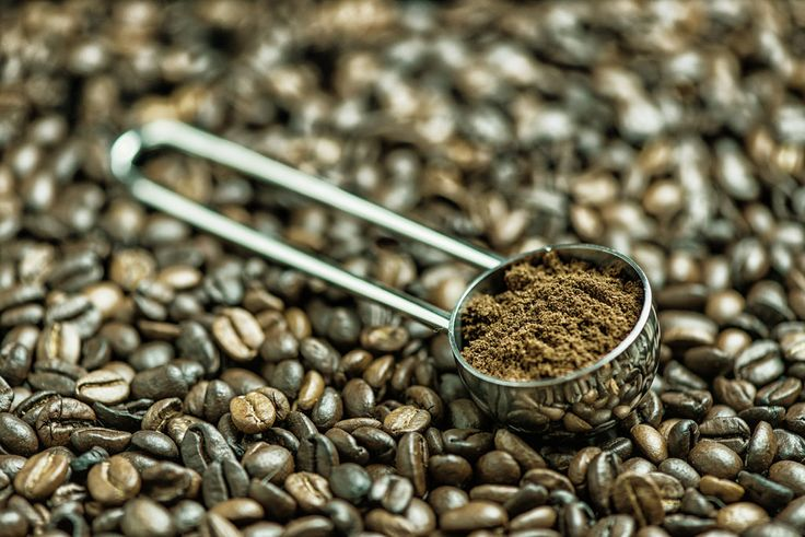 Grinded coffee in a metallic spoon in whole coffee beans.