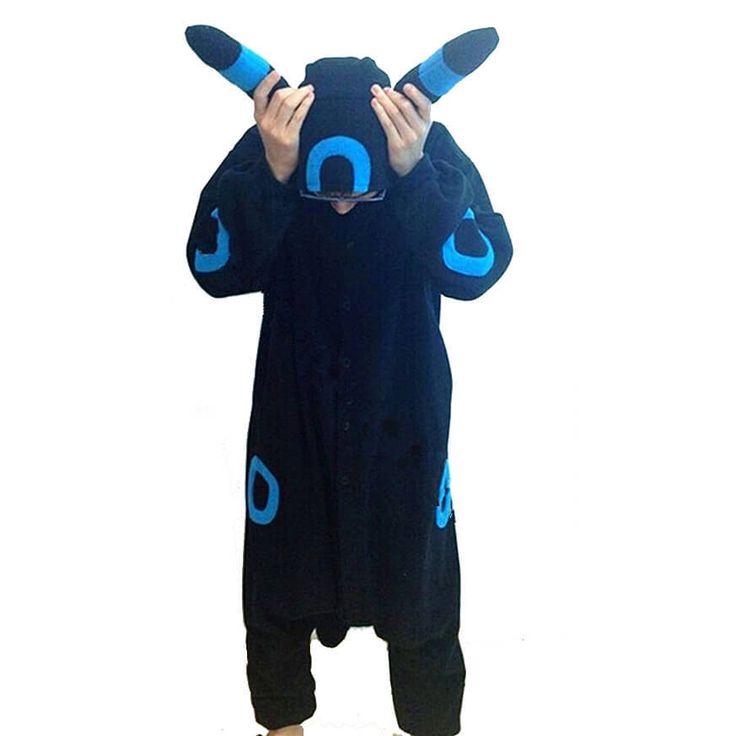 Pokemon Umbreon Eevee Blue Black Kigurumi Onesie Hoodie Pajamas - PajamasBuy