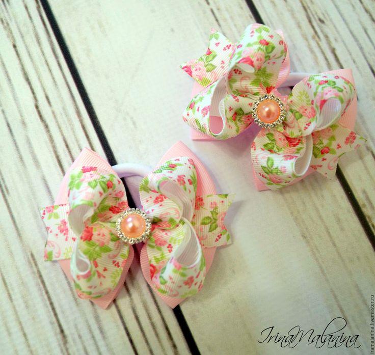 """Купить Бантики для волос """" Нежные розы"""". - розовый, бантики для волос, бантики для девочек"""
