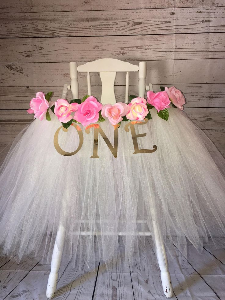 High Chair Tutu   High Chair Skirt   Ivory And Pink Highchair Tutu    Highchair Skirt
