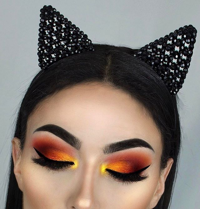 gold to red ombre effect eyeshadow look with fierce brows - Eyeshadow For Halloween