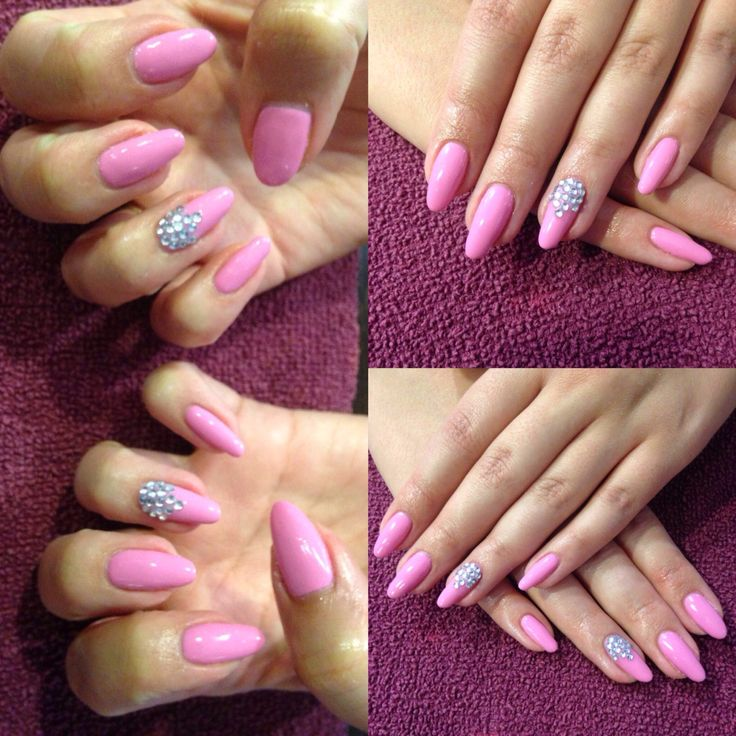 Beautiful gel polish over natural nail finished off with silver gems #gel #nails #pink #babypink #silver #gems