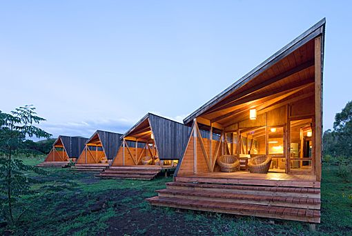 Architectural cabins in Easter Island designed to reflect and respect the fragile eco-system.