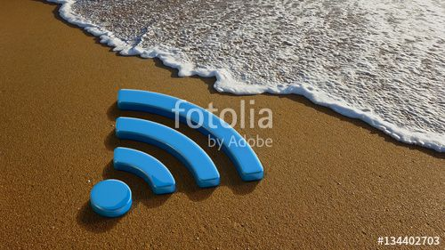 """Download the royalty-free photo """"WiFi 4G Internet on the Beach"""" created by Fotolia365 at the lowest price on Fotolia.com. Browse our cheap image bank online to find the perfect stock photo for your marketing projects!"""