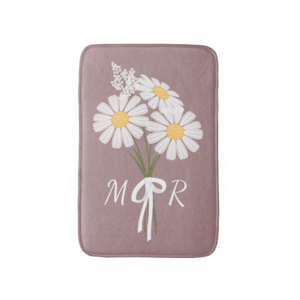#simple - #White Daisy Flowers Bouquet Monogram on Dark Pink Bath Mat