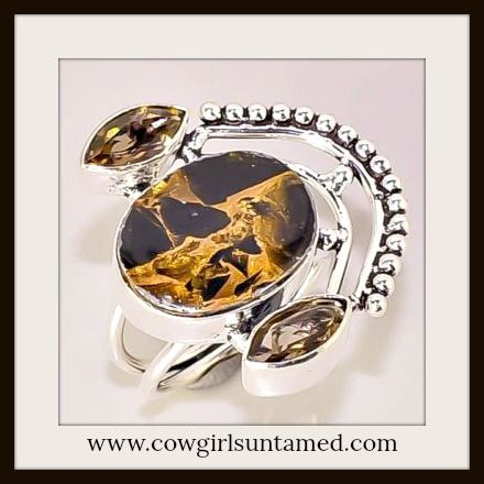 BEAUTIFUL COWGIRL GYPSY RING! Brown & Black Turquoise with Smokey Topaz 925SS Ring  #ring #jewelry #sterlingsilver #silver #turquoise #topaz #gemstone #beautiful #boutique #fashion #boho #cowgirl #southwestern #gypsy #western