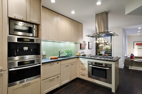 Kitchen inspiration double wall oven hood over gas - Kitchen peninsula with stove ...
