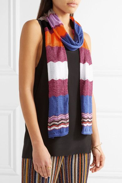 Missoni - Crochet-knit Cotton-blend Scarf - Purple - one size