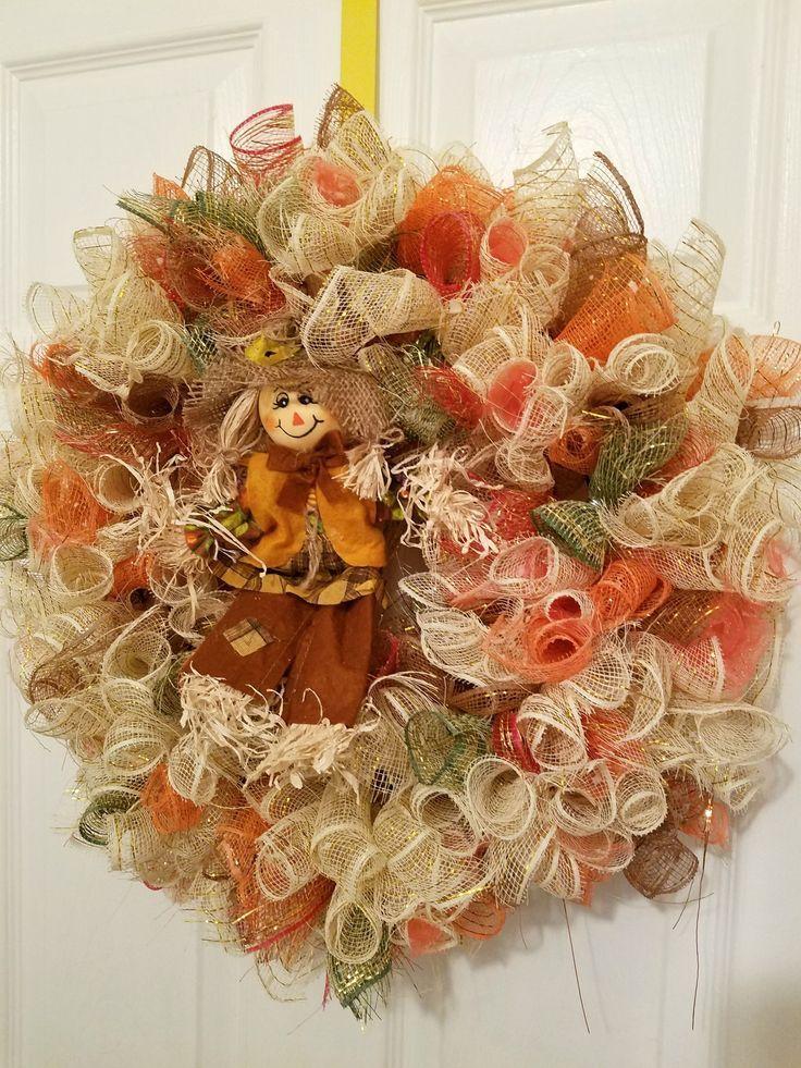 deco mesh scarecrow wreath fall scarecrow wreath fall wreath for door scarecrow door decor autumn door wreath farmhouse porch wreath pinterest