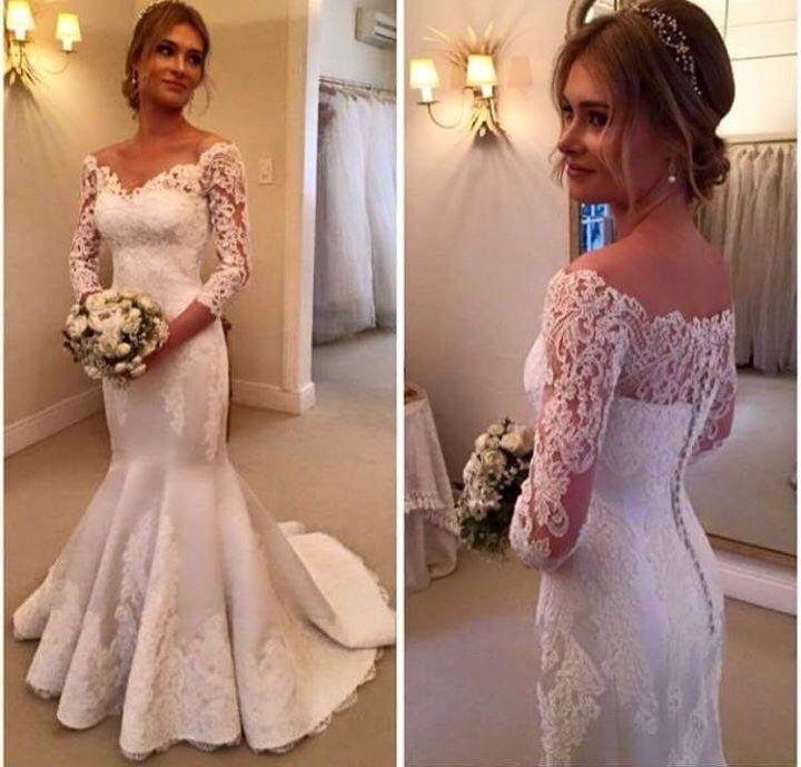 Vestido de noiva sereia com mangas em renda