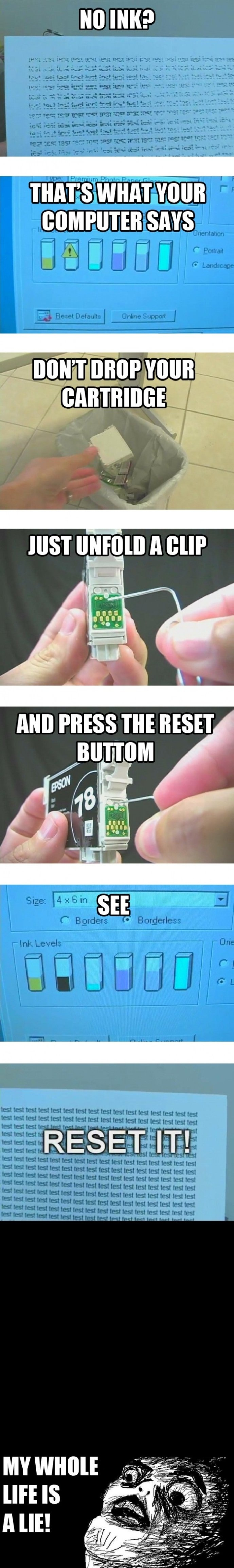 reset your ink cartridge to save on replacing it