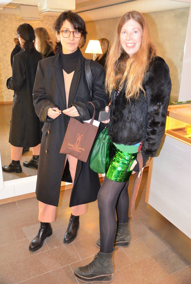 Maria Forssén and Marina Kereklidou at the launch of Hargreaves Stockholm at Stockholm Fashion Week aw17. www.hargreavesstockholm.com