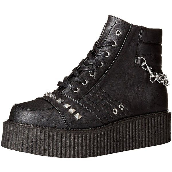 Demonia Men's V-Creeper-565 Sneaker ($92) ❤ liked on Polyvore featuring men's fashion, men's shoes, men's sneakers, mens puma creeper, mens wide sneakers, mens creeper sneakers, mens creeper shoes and mens wide fit shoes