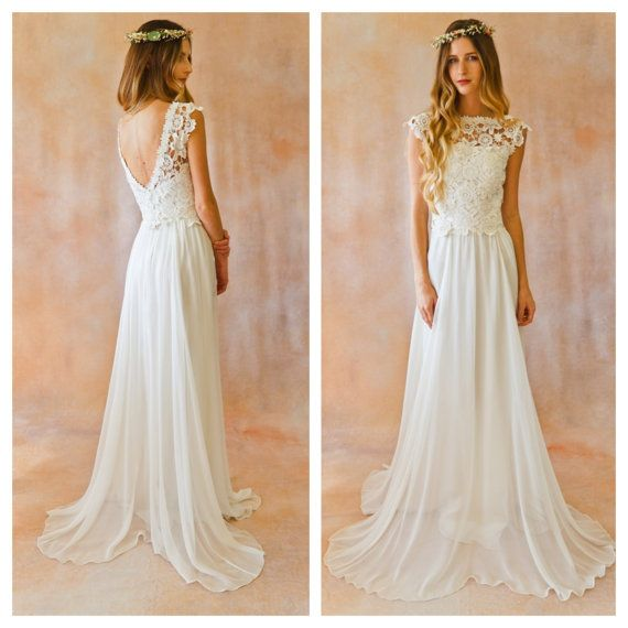 TOP ONLY Lace + Silk Chiffon Bohemian Wedding Dress. OPEN Back boho style crochet lace wedding dress. Ivory or White Silk Skirt and Top