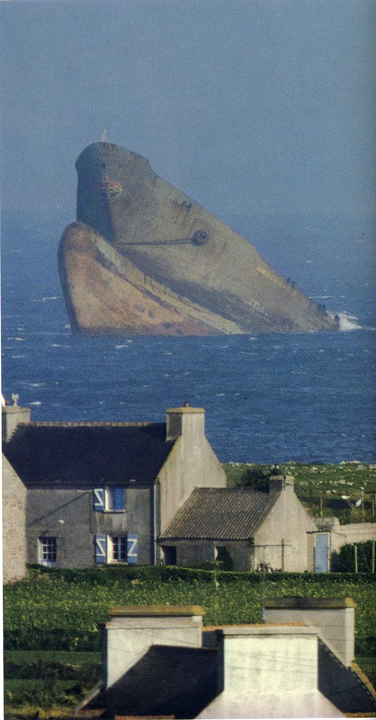 The oil tanker Amoco Cadiz ran aground on Portsall Rocks, 5 km (3.1 mi) from the coast of Brittany, France, on 16 March 1978