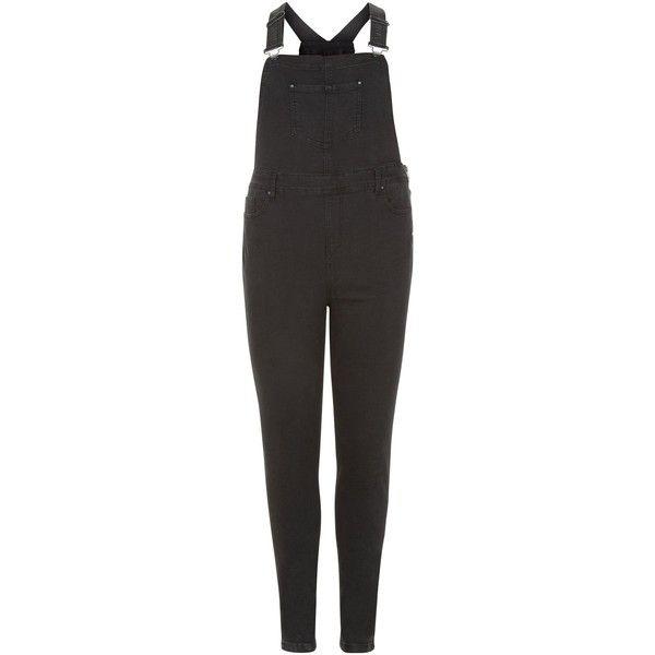 New Look Curves Black Skinny Dungarees ($37) ❤ liked on Polyvore featuring jumpsuits, black, skinny leg jumpsuit and skinny jumpsuit