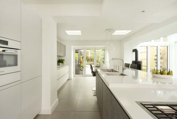 A kitchen extension doesn't always have to require a new build - in this family-friendly kitchen and living area designed by Graham Robinson of Halcyon Interiors, The ALNO Store, a partition wall was taken down to really open up the space and create a light, airy environment