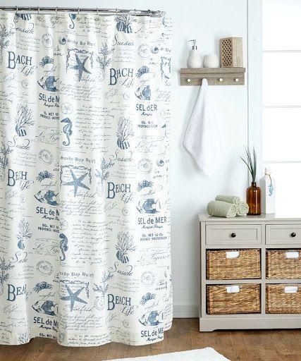 Charming Blue And White Beach Life Word Shower Curtain: Http://ocean Beach