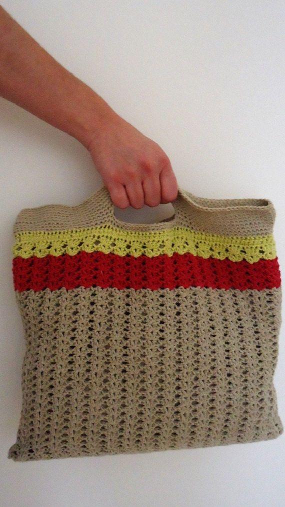 Crochet Handbag Knitted Purse Cotton Handbag by YellowByZoe