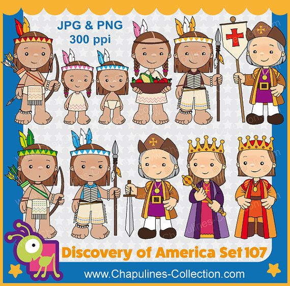 The Discovery of America Clipart, Columbus day, by ChapulinesCollection