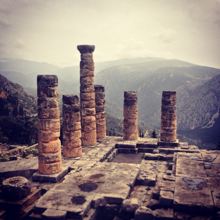 Pillars on archaeological site of Delphi, Greece