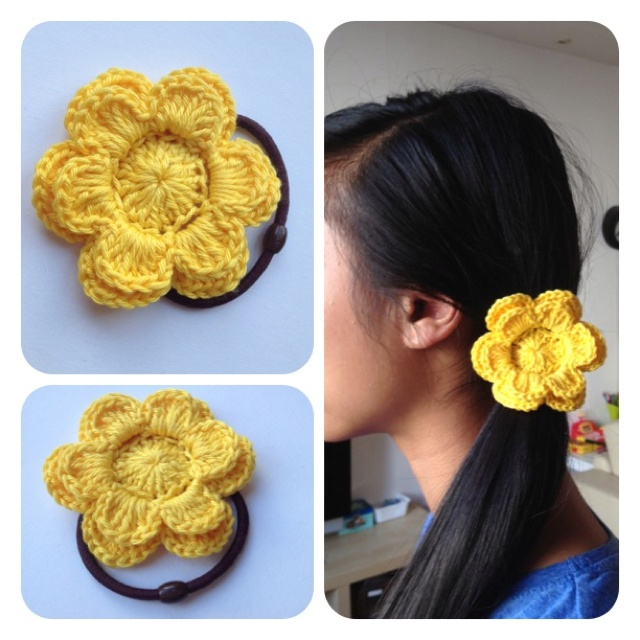 Crochet Hair Rubber Band : Sweet rubber band flower by SweetHandmade Crochet