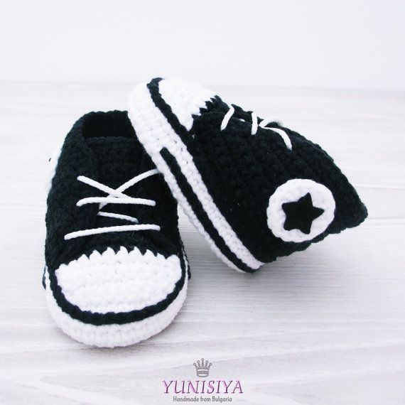 Black crochet baby Converse, baby shoes, baby sneakers, black baby ...