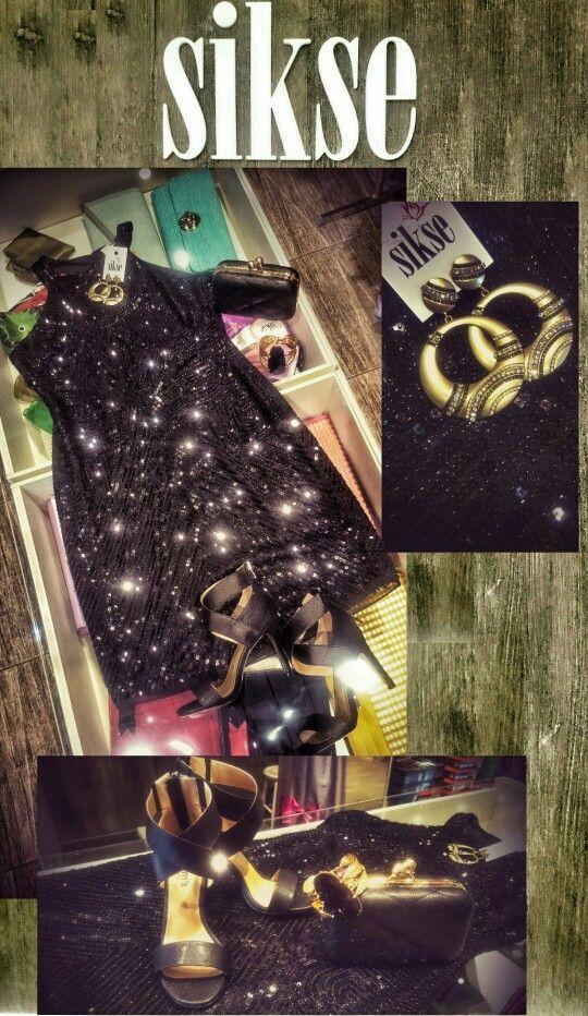 Black night dress black high heels party dress