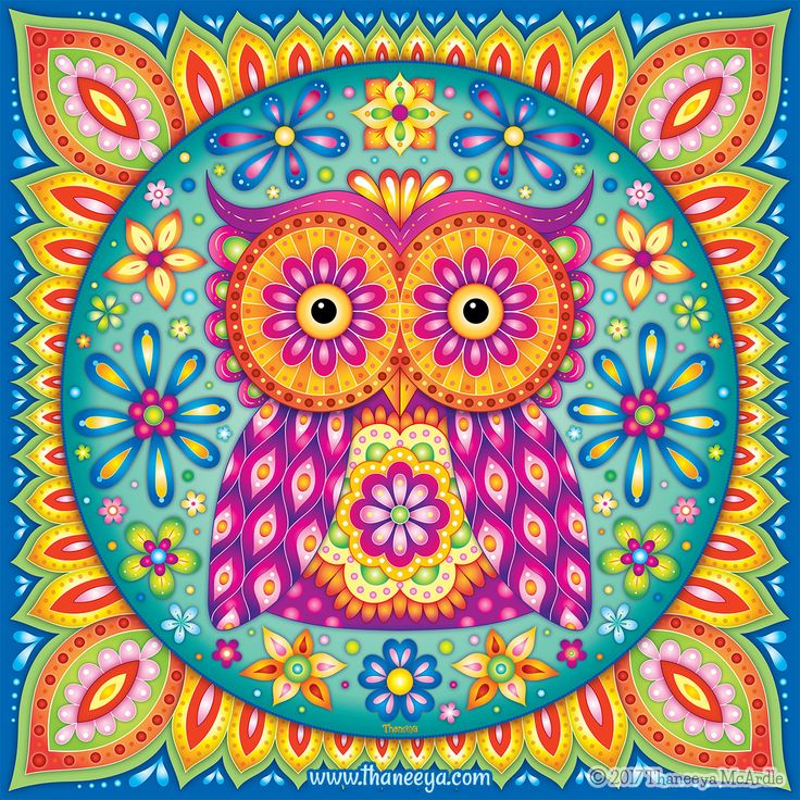 Owl Mandala By Thaneeya McArdle Available As Art Prints Wall Tapestries Throw Blankets