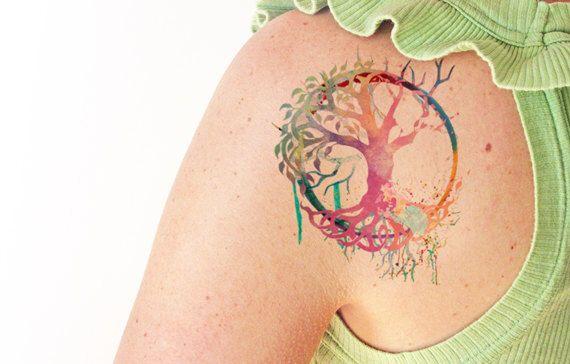 Tree of life watercolor - Temporary tattoo by TTTattoodotcom on Etsy https://www.etsy.com/listing/266657923/tree-of-life-watercolor-temporary-tattoo