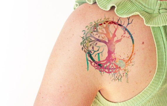 Tree of life watercolor - Temporary tattoo by TTTattoodotcom on Etsy https://www.etsy.com/ca/listing/266657923/tree-of-life-watercolor-temporary-tattoo