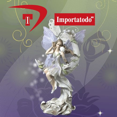 Figura decorativa Hada elaborada en Poliresina varios colores marca TRENTINO. Modelo 45-641.