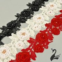 www.houseofadorn.com - Lace Guipure Style #4150 Beaded Roses & Leaves (Price per 25cm)
